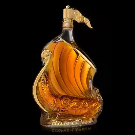 Viking Ship Gold Decorated Glass Cognac Larsen