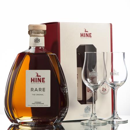 Rare + 2 glasses Cognac HINE